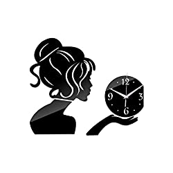 Wall Clock 2019 Wall Clock Watch Horloge Acrylic Mirror Stickers People Living Room Quartz Needle,Silver