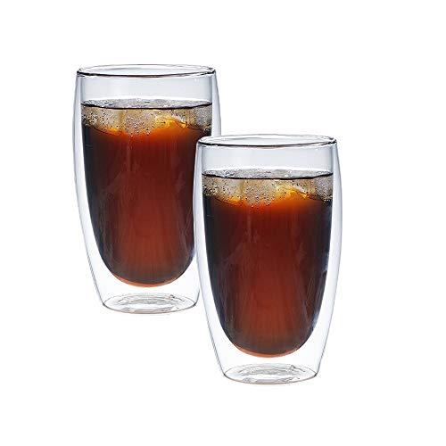 Kaffee Teegläser, doppelwandiges Thermoglas Cappuccino Tassen 250ml/350ml/400ml, 2er Set (450ml(2-teiliges))