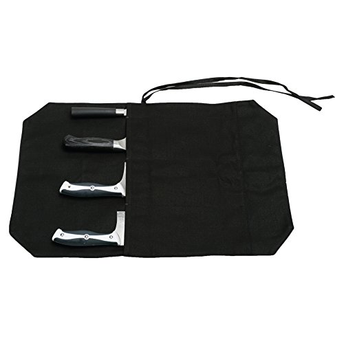 Hersent A Chef's Knife Roll Bag - Portable Travel Chef Knife Case Carrier Storage Bag with 4 Slots Best Gift for Pro Chef or Culinary Enthusiasts Men Women HGJ03-P Black