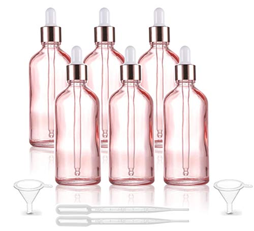 6 Pcs,3.4 Oz Pink Glass Dropper Bottle for Essential Oils,Empty Glass Massage Oil Bottle Holder With Glass Reagent Pipette,Aromatherapy Perfume Travel Vial Container-FREE Pipette,Funnel included