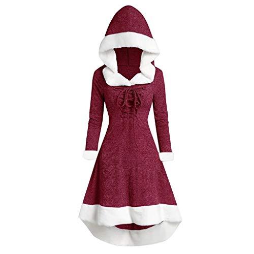 Lazzboy Kleider Damen Wintermode Langarm Patchwork Mit Kapuze Vintage Kleid Partykleid Winter Weihnachten Party(Rot,L)