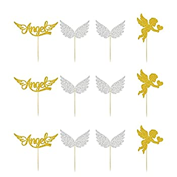 24PCS Glittery Angel Cupcake Toppers Cupid s Arrow Themed Dessert Decor God Bless Baby Girl Happy Birthday Party Decoration Supplies