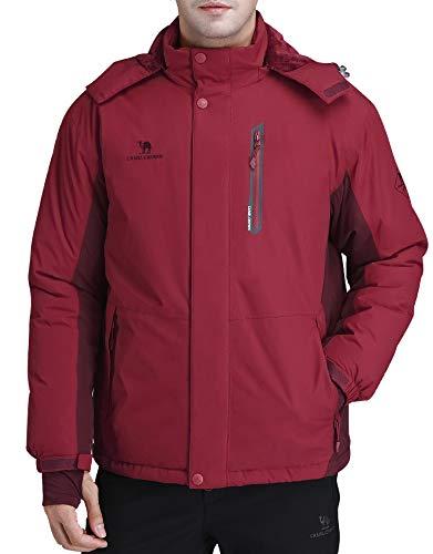 CAMEL CROWN Herren Ski-Jacke Wasserdicht Warm Cotton Winter-Schnee-Mantel Berg Snowboard Windjacke mit Kapuze Raincoat Klein Weinrot
