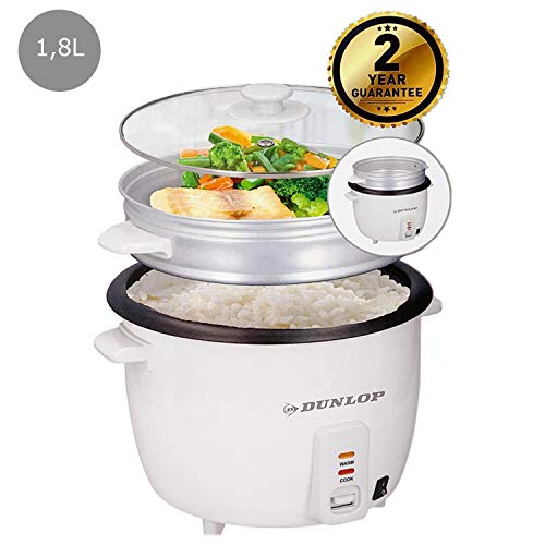 Rijstkoker 1,8 l stoomkoker + maatbeker + rijstlepel stoomkookfunctie groentenkachel warmhoudfunctie rijstkookpan stoomkoker Rice Cooker