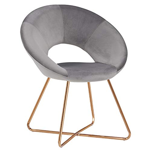 Duhome Modern Accent Velvet Chairs Dining Chairs Single Sofa Comfy Upholstered Arm Chair Living Room Furniture Mid-Century Leisure Lounge Chairs with Golden Metal Frame Legs 1 PCS Grey