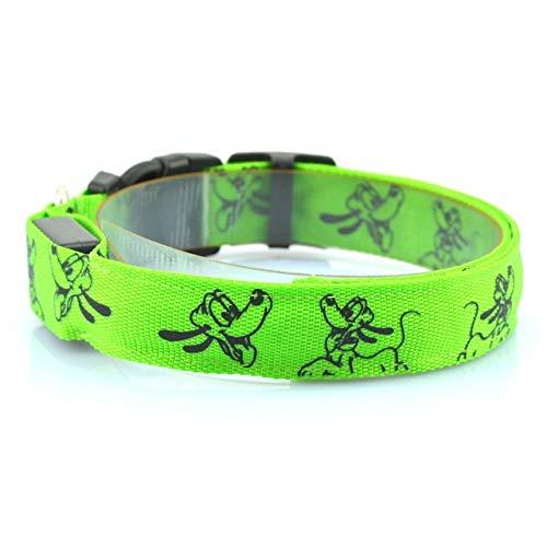 Zhaochen Nylon-LED-Hundelicht-Kragen-Nacht-Sicherheits-Blitzen-Glühen dunkel elektrisch Haustiere Katze Hundekopf Kragen Hundehalsband (Color : Green, Size : M)
