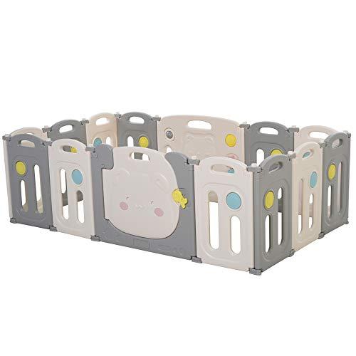 homcom Box Recinto per Bambini +6 Mesi con 14 Pannelli a Incastro con Serratura e Giochi, Grigio e Bianco 160x152x62cm