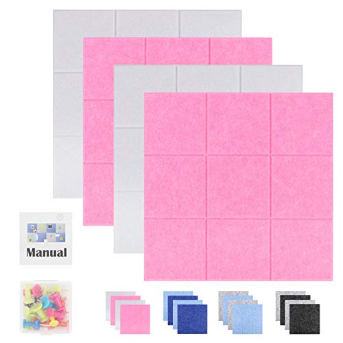 "SEG Direct Square Felt Tile Board Push Pin Board for Wall Decor Bulletin Boards for Notes, Pictures and Office Home Decor 11.8"" x 11.8"", 4Pcs(2 White and 2 Pink)"