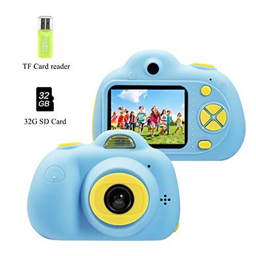 Cámara para niños, 2019 Nueva Cámara de Fotos Digital 2 Objetivos Selfie 8MP Cámara Digital 1080P HD Videocámaras Flash Lights Batería Recargable, Juguetes Regalo para niños y niñas 3-10 años (Azul)
