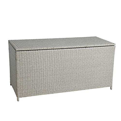ESTEXO Polyrattan Auflagenbox Kissenbox Gartenbox Gartentruhe Aufbewahrungsbox Auflagentruhe Aufbewahrungstruhe Kissentruhe (Beige)