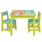 NTS Salon de Jardin pour Enfant en Bois 1 Table 1 Table et 2 chaises 4 Animaux