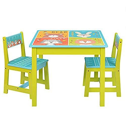 """Natsen Kindersitzgruppe Holz Kindertisch u. 2 Stühle, Sitzgruppe für Kinder Mädchen und Jungen, 3 TLG. Sitzgarnitur """"Tiere"""""""