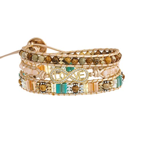 Plumiss Bohemia 3 Wraps Love Bracelet Handmade Multilayer Beaded Jewellery For Women And Girls