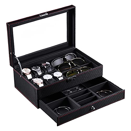 AP.DISHU Nueva Y Creativa Caja De Reloj De Cuero De Fibra De Carbono 6 + Pantalla De 3 Gafas De Doble Capa,Caja De Almacenamiento De Joyas,Cubierta De Vidrio con Pantalla De Gafas, 33 * 20.5 * 13CM