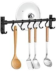 OIZEN Haaklijst, keukenrail, hangrail van 304 roestvrij staal, roestvrij keukengereihouder, pannenhouder, bekerhouder met 7 haken, keukenhulp, kookaccessoires, keukengerei