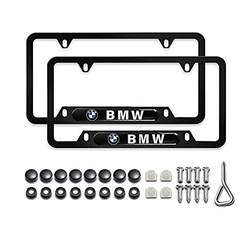 2Pcs Car Logo License Plate Frame Fit BMW, Newest Matte Black Car Licenses Plate Covers Holders for US CA Vehicles