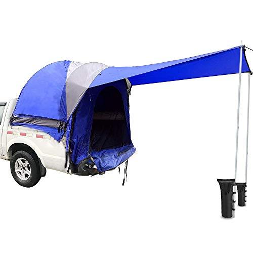 Sport Tent LKW-Zelt Wasserdichtes Truck Zelt mit Markise, Außenzelt und 2 Stücke Anker Sandsäcke LKW Bett Zelt Camping Angeln Wandern/Caving Picknick Reisen