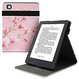 kwmobile Carcasa Compatible con Kobo Aura H2O Edition 2 - Funda para e-Book de Cuero sintético - Magnolias Rosa Claro/Blanco/Rosa Palo