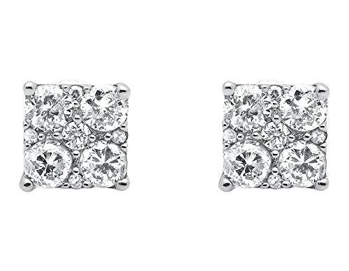 Orecchini in oro bianco placcato in oro 10 kt da uomo con borchie a forma di diamante, 6 mm, 72 carati