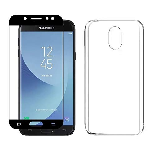 Kit Capinha Silicone Antichoque + Película Vidro 5D Preta Samsung J7 Pro