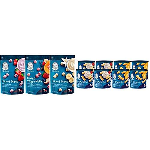 Gerber Up Age Yogurt Melts & Fruit & Veggie Melts Assorted Variety Pack, 8Count & Lil Crunchies, Mild Cheddar & Veggie Dip, 8 Count