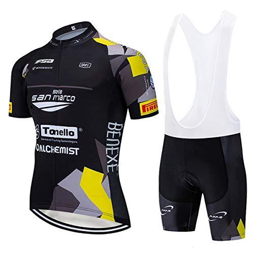 Maglia Ciclismo Uomo Estiva, Maglie Ciclismo Uomo con Striscia Riflettente e Gel Padded Salopette Ciclismo, MTB