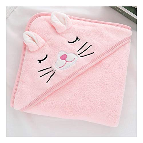 ZAIZAI Toallas con Capucha para Niños Recién Nacidos Albornoz para Niños Recién Nacidos Toalla De Baño Súper Suave Manta Abrigo Cálido para Dormir para Niños Niñas (Color : Pink)