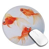 """水中で泳ぐ小さな金魚のマウスパッド、デスクトップ、コンピューター、PC、ラップトップ用のスリップ防止天然ゴムマウスマット、自宅/オフィスでの作業およびゲーム用、7.9""""X 7.9"""""""