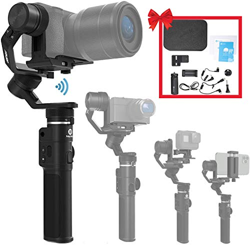 FeiyuTech G6 Max 3-Axis Camera Gimbal Stabilizer for Small Mirrorless/Pocket/Action Camera/Smartphone for Sony a6300/a6500 α7SII RX100 Gopro 9/8/7/6/5 iPhone 12 Samsung S10+, 2.65lb Payload