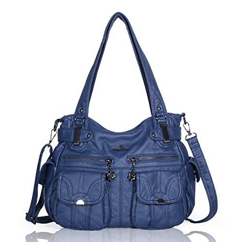 Angelkiss 5739/1 - Bolso de mano con diseño de bandolera, grande, 8 bolsillos pequeños, para niñas y mujeres, azul (Azul) - 5739/1