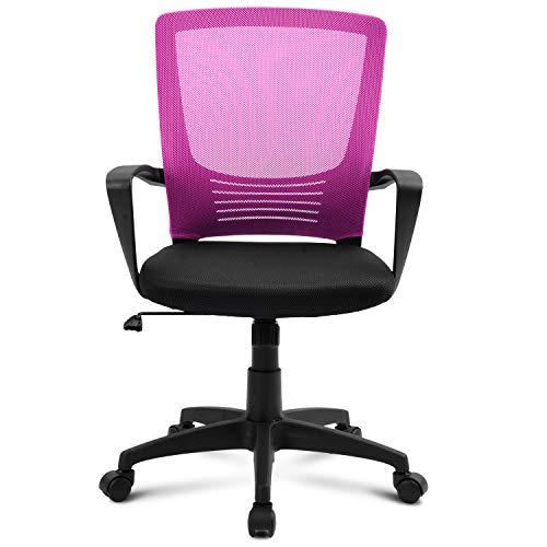 Merax Bürostuhl, Schreibtischstuhl, Chefsessel sitzkomfort Bürodrehstuhl Computertischstuhl mit Rückenlehne, drehbarer, Höhenverstellung, Armlehne und ergonomischer Tailestütze (Pink)