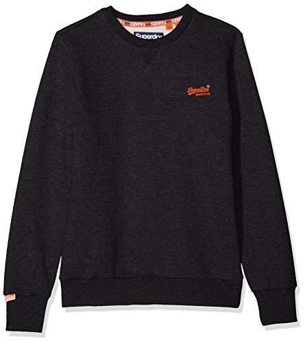 Superdry Herren ORANGE Label Crew Sweat Sweatshirt, Schwarz (Night Shade Black Marl W6E), X-Large