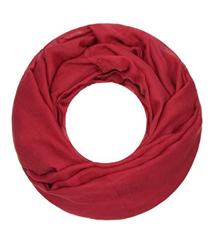 Majea Loop Cary Basic Schal Tuch Damen-schal Schlauchschal Rundschal Halstücher uni unifarben Loopschal einfarbig, Cherry 1, 170x80