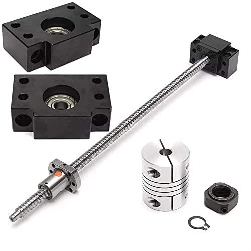 ADSE Tornillo de Bola SFU1204 de 400 mm con Extremo BK10 BF10 Soporta Herramientas industriales de Productos de Movimiento Lineal
