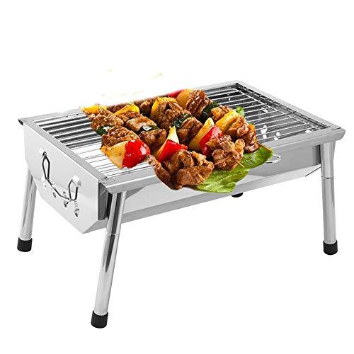 ZYT BBQ Grill Charbon Barbecue cuisinière Portable Maison en Plein air Camping Pique-niquer Grill réglable Jambes en Acier Inoxydable Maille Non-Stick Plateau Amovible Charbon de Bois