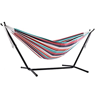 Vivere Double Cotton Combo Hammock with Stand, Plumeria