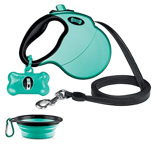 Ruff 'n Ruffus Retractable Dog Leash with Free Waste Bag Dispenser and Bags + Bonus Bowl | Heavy-Duty 16ft Retracting Pet Leash | 1-Button Control | Durable (Retractable Dog Leash (with Free Bonus))