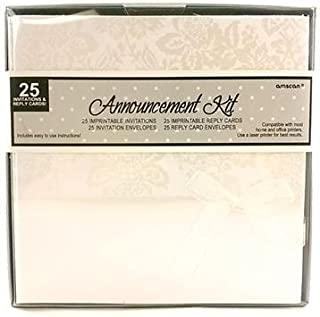 Ivory Floral Imprintable Announcement Kit Wedding Invitations Envelopes 25 Ct