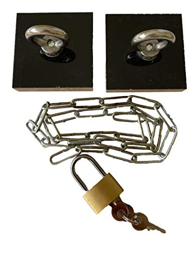 Aufsatzschloss Set | Nachträgliches Schloss mit Kette | Selbstklebend ohne Bohren | Kühlschrankschloss Schrankschloss Schubladenschloss | Schwarz