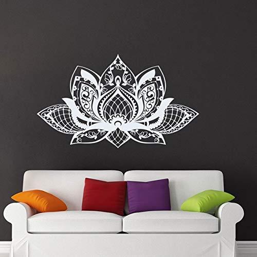 Modern Lotous Mandala Flower Yoga Studio Vinyl Wandaufkleber Wohnkultur für Wohnzimmer Schlafzimmer Abziehbilder Extrab Dunkelgrau S 57x33cm