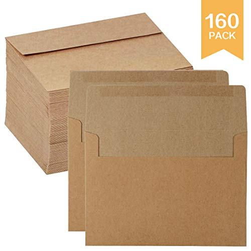Kraft Paper Envelops,160 Pack Kraft Self-Adhesive Envelopes for Self Seal,Weddings,Invitations,Baby Shower,Stationery,Office,5x7 Inches