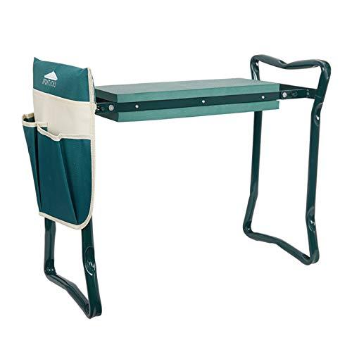 HNZNCY Gartenstuhl und Sitz, zusammenklappbar, Edelstahl, Gartenhocker mit Werkzeugtasche, EVA-Kniepolster, Gartenarbeit, Geschenke