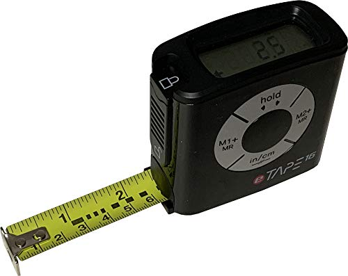 eTape16 Digital Tape Measure, 16 Feet, Inch & Metric - Black 1-Pack (Box Packaging)