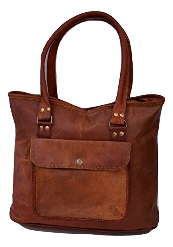 "Handmade Women Vintage Style Real Leather Shoulder Shoppers Bag Purse 16"" Brown"