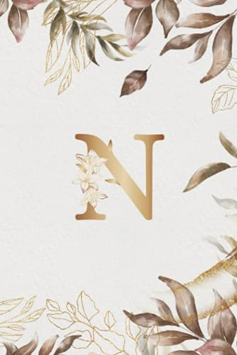 N Alphabet Notebook Journal: Initial Monogram Letter N Lined Ruled Notebook Journal: 6x9' 120 Pages Wide Ruled Notebook, Anniversary Gift Idea