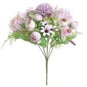 Rmbaby 1 Bundle Artificial Flowers Fake Peony Silk Hydrangea Bouquet Decor Plastic Carnations Realistic Flower Arrangements Wedding Decoration Table Centerpieces Multicolor
