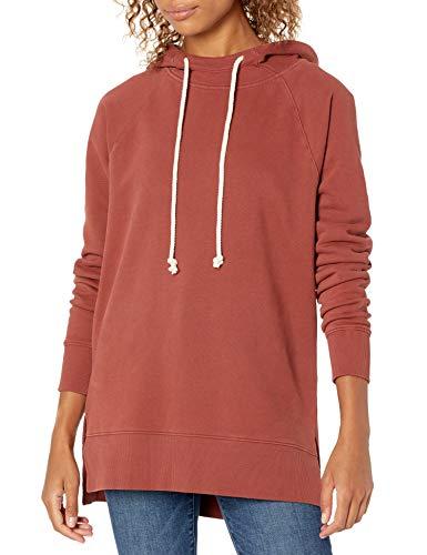 Goodthreads Heritage Fleece Hooded Tunic Sweatshirt Camisa de Vestir, Marrón Rojizo, S