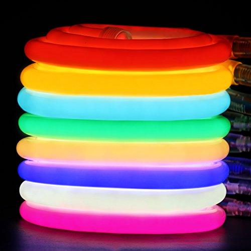 XUNATA Flexible Neon Luz de 360º (Diámetro 14mm), Tiras de LED 220V 2835 120 led/m, IP67 Impermeable Exterior Strip Lights Luminoso Decoracion (1m, Azul)