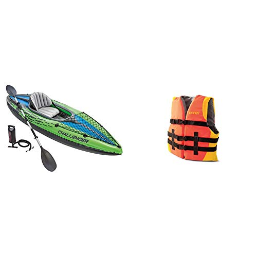 Intex Challenger K1 Kayak, 1-Person Inflatable Kayak Set with Aluminum Oars and High Output Air Pump Youth Life Vest, USCG Approved, for Youth Weighing 50-90lbs