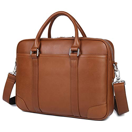 leather laptop bags YOGCI Mens Leather Briefcase Messenger Laptop Bag for Business Work,Fits 13 14 15 Inch Computer (Brown)